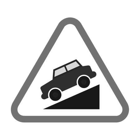 Slope ahead sign. Illustration