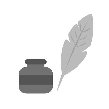 Feather Quill icon illustration on white background.