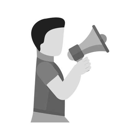 Announcer, speaker with megaphone illustration.