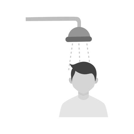 Taking Shower Icon Illustration
