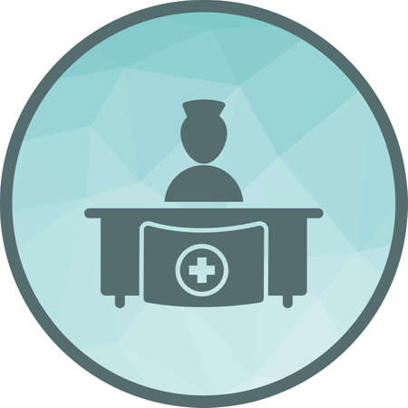 Hospital, medical, reception icon vector image. Can also be used for healthcare and science. Suitable for use on web apps, mobile apps and print media. Illustration
