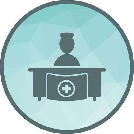 Szpital, medycyna, odbiór ikona grafika wektorowa. Może być również stosowany w służbie zdrowia i nauce. Nadaje się do użytku w aplikacjach internetowych, aplikacjach mobilnych i mediach drukowanych. Ilustracje wektorowe