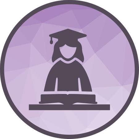 Estudiante, mujer, imagen del vector del icono de la universidad. También se puede utilizar para la escolarización. Adecuado para su uso en aplicaciones web, aplicaciones móviles y medios impresos.