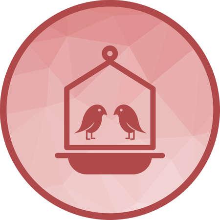 Bird in Bird House Illustration