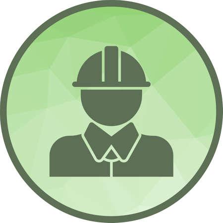 Pracownik, budownictwo, fabryka ikona grafika wektorowa. Może być również stosowany w procesach przemysłowych. Nadaje się do aplikacji mobilnych, aplikacji internetowych i mediów drukowanych.