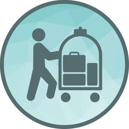 Hotel, bellhop, cart icon vector image. Can also be used for people. Suitable for use on web apps, mobile apps and print media. Illusztráció