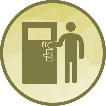 Puerta, golpeando, imagen de vector de icono de entrega. También se puede utilizar para el estilo de vida de la ciudad. Adecuado para su uso en aplicaciones web, aplicaciones móviles y medios impresos.