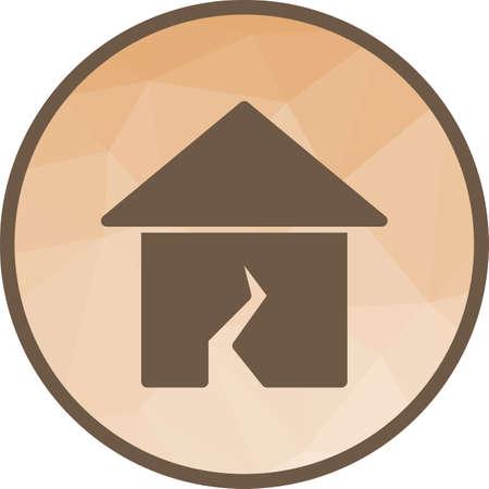Terremoto, danni, immagine di vettore icona di emergenza. Può essere utilizzato anche per i disastri. Adatto per app mobili, app Web e supporti di stampa. Vettoriali