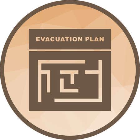 Plan, salida, imagen de vector de icono de evacuación. También se puede utilizar para meseum. Adecuado para aplicaciones web, aplicaciones móviles y medios impresos.