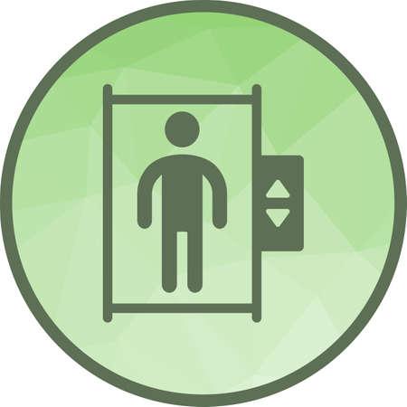 Ascensore, città, immagine icona del vettore ascensore. Può essere utilizzato anche per la città. Adatto per l'uso su app Web, app mobili e supporti di stampa.