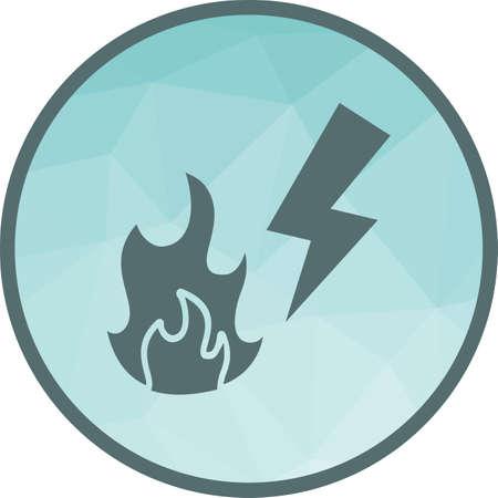 Feuer, elektrisches, kurzes Symbol-Vektor-Bild. Kann auch zur Brandbekämpfung verwendet werden. Geeignet für Web-Apps, mobile Apps und Printmedien. Vektorgrafik