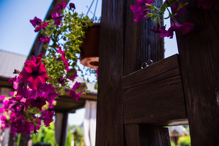 wooden shelf with flowers and wedding rings on the street