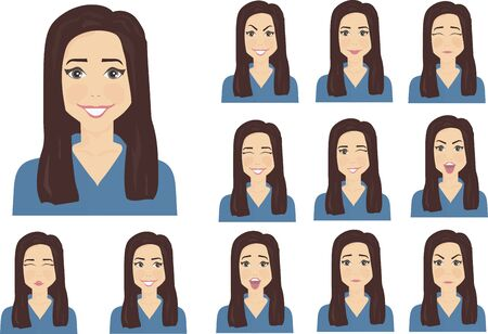 emotions of a woman with dark hair brown eyes