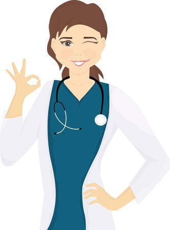 woman doctor nurse with dark hair with stethoscope