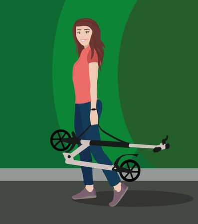 athletic young woman walks with scooter in a park