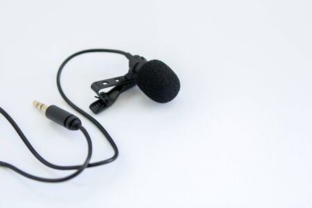 lapel microphone on white background
