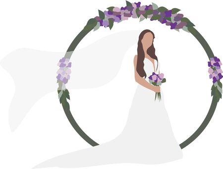 bride in a wedding dress with bouquet Illusztráció