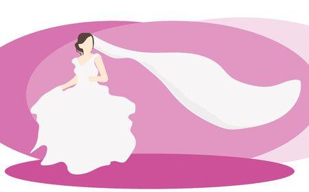 bride with veil in wedding dress