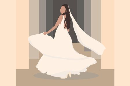 bride with veil in wedding dress