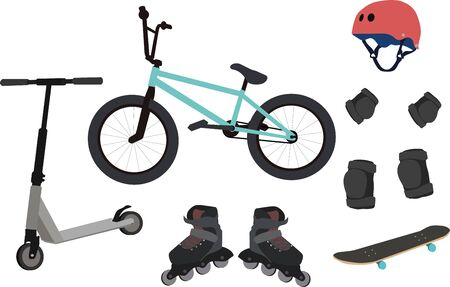icons for extreme sports consisting of bicycle, scooter, rollers, skate, protection and helmet