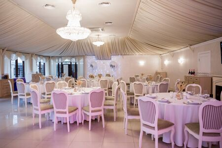 decor of flowers at a wedding in banquet hall