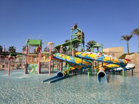 children's water park in pool in summer
