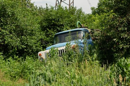 old abandoned car in forest 版權商用圖片