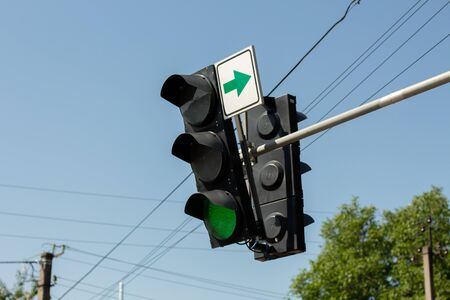 a traffic light with green light