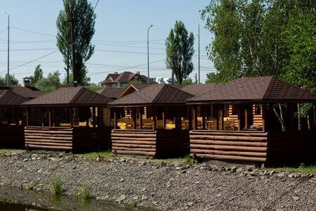 a wooden holiday houses in the park
