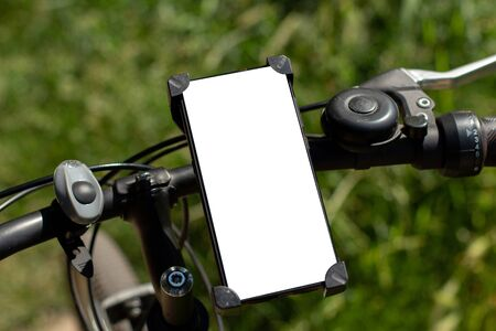 bicycle phone with white background Фото со стока