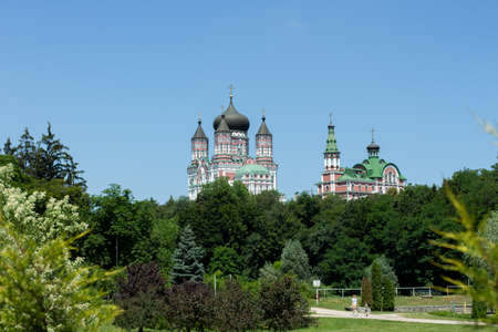 large cathedral in the park and temple Standard-Bild