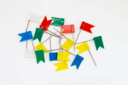 pins flags on white background