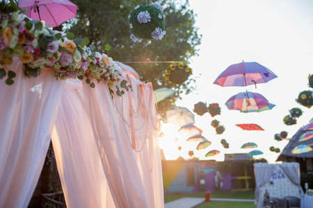arch for a wedding ceremony in green meadow Imagens