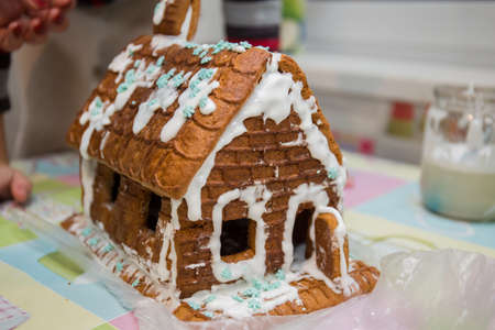 gingerbread house for holiday on the table