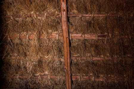 thatched roof of old house from the inside Stock fotó