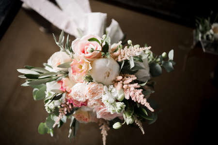 a bridal bouquet with butterfly and decor Archivio Fotografico