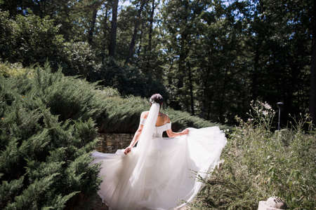 bride in wedding dress with her back in the park