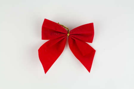 christmas decoration red bow on a white background Banque d'images