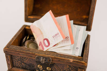 euro paper money with a coins in the chest Banque d'images