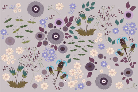 a spring pattern with different flowers and leaves background Illustration