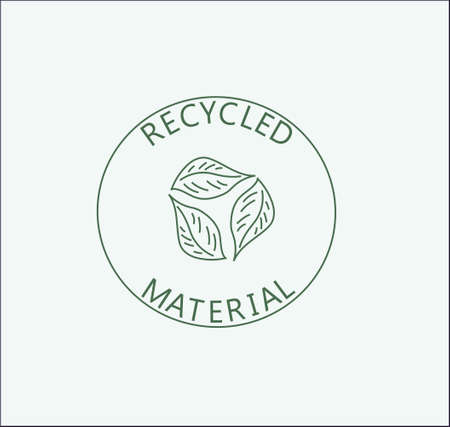 a recycled material vector emblem logo in minimalistic style