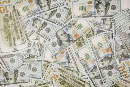 lot of one hundred dollar bills on a white background for business Standard-Bild