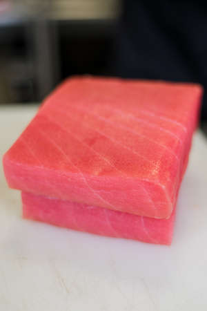 large piece of tuna fillet on the table