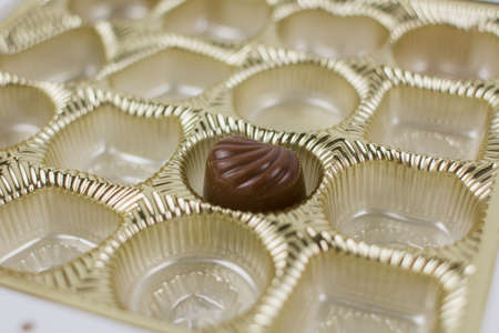 the last chocolates in a candy box Banque d'images