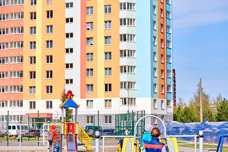 multi-storey house in a young neighborhood Stock Photo