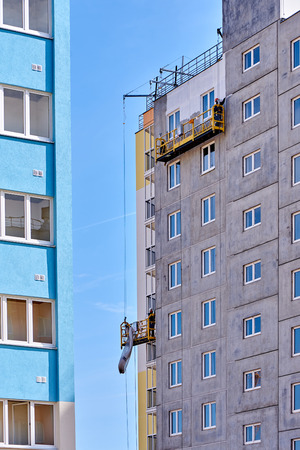 construction of a multi-storey building in a young neighborhood Stok Fotoğraf