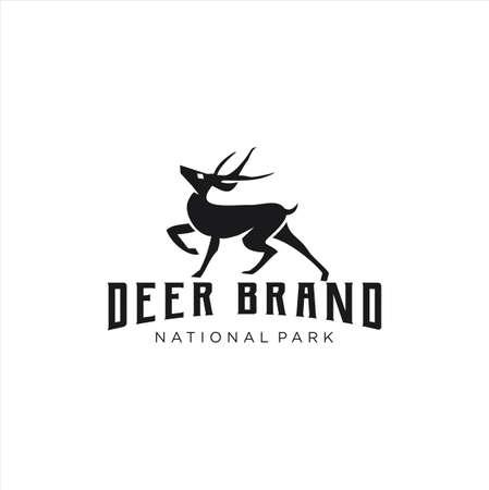 Deer Logo silhouette Retro Hipster Vintage template. Horns, antelopes, elk, moose, Cervinae,muntjac, fallow deer, chital, Capreolinae, reindeer, chevrotains, Ruminantia Logo Design Illustration.
