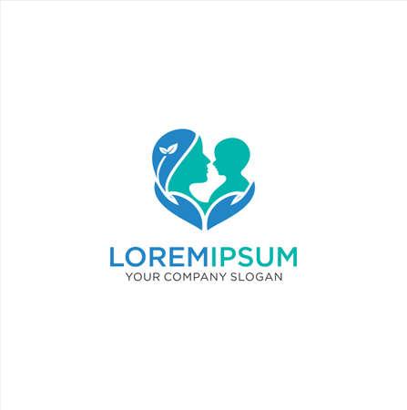 Logo Maman Et Bébé. Modèle de concept de conception de logo de soins de bébé d'amour. Logo de soins d'amour de mère. Logo d'amour de maman et de bébé Logo