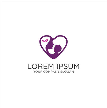 Mom And Baby Logo . Love Baby Care Logo Design Concept Template . Mother Love Care Logo . Mom and baby love logo