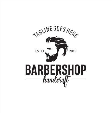 Barbershop Logo Design silhouette Vector Stock on the white background . haircut Logo Vintage Hispter badge .